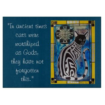 Cats as Gods Quote Cat with Mandala Cutting Board