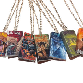 Harry Potter Necklace, Miniature Book Necklace, Deathly Hallows Necklace, Harry Potter Jewelry, Hogwarts Gryffindor Dumbledore Gift
