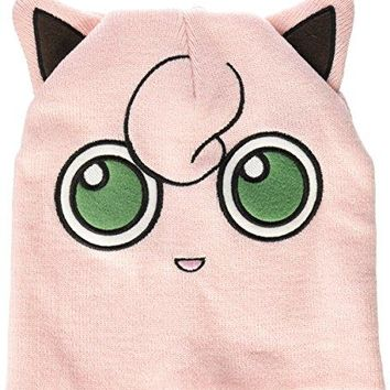 BIOWORLD Pokemon Jigglypuff Big Face Fleece Cap Beanie with Ears