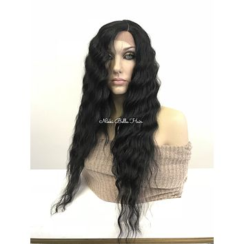 Black long beach waves | Human Hair Blend| Swiss lace front wig 24"