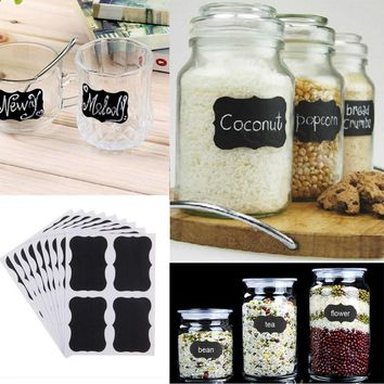 36Pcs Set Blackboard Sticker Craft Kitchen Jar Organizer Labels Chalkboard Chalk Board Stickers Black