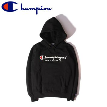 Black Unisex Lovers' Champion Printed Long Sleeve Hoodies Sweater Pullovers