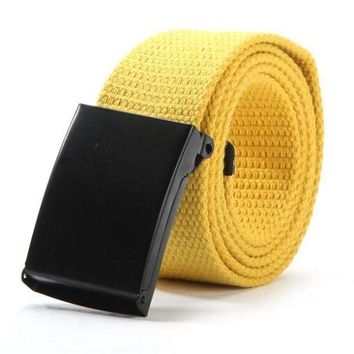 LMFLD1 Unisex Men Waist Belt Waistband Casual Plain Webbing Canvas Belt Strap Belts F31