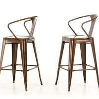 Modrest Ned Modern Copper Bar Stool (set of 2)