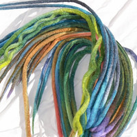 Dreadlock type hair extentions, hand dyed merino wool, brilliant colors, looped for braiding into hair