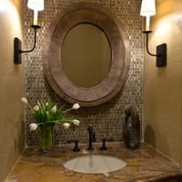 Bathroom Remodel / Love the tile, granite and mirror