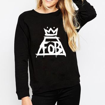 FALL OUT BOY SWEATSHIRT New women punk band Fall Out Foy FOB print sweatshirt cotton fashion tracksuit long sleeve