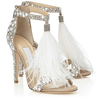 New Hot Sale Bridal Wedding Shoes Luxury Crystal Embellished White Feather Fringed Rhinestone High Heels Women Stiletto Sandals