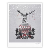 "Nika Martinez ""Christmas Deer Snow"" White Holiday Fine Art Gallery Print"