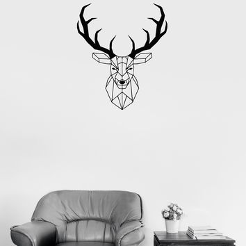 Wall Decal Head Deer Geometry Animal Hunting Decor Vinyl Sticker (ed1040)