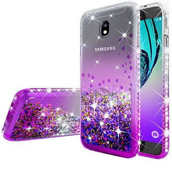 Samsung Galaxy J3 (2018) / Express Prime 3 / J3 Achieve / J3 Star / SM-J337A Case Liquid Glitter Phone Case Waterfall Floating Quicksand Bling Sparkle Cute Protective Girls Women Cover for Galaxy J3 (2018) - Purple