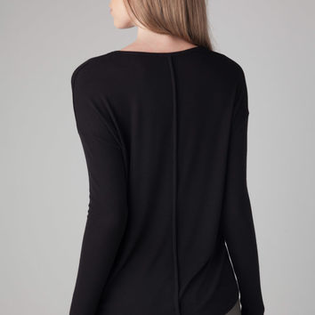 Nili Lotan L/S V-Neck Tee in Black