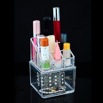 1Set Lipstick Holder Cosmetic Storage Organizer Makeup Display Rack Box (Color: Transparent) = 1705671556