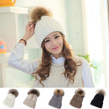 DCCKWQA Hot Promotion Vogue Women Lady Winter Warm Fur Wool  Ball Knitted Crochet Baggy Hat Casual Female Candy Color Beanie Ski Cap