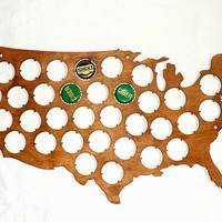 USA Beer Cap Map Custom Personalized Engraving Beer Cap Display Father's day Gifts for men Gifts for Dad Valentines gifts for him