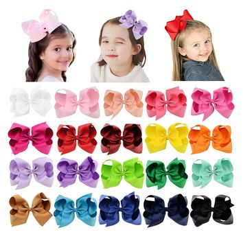 "20 Pcs/Lot Grosgrain 6"" Big Large Bow Hair Clips for Baby Girl Toddlers Kids Children Women Handmade Barrettes Hair Accessories"