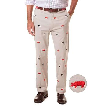 Stretch Twill Harbor Pant with Embroidered Smoker Grill and Pig by Castaway Clothing