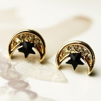 Beautiful Rhinestones Crescent Star Gilding Earring