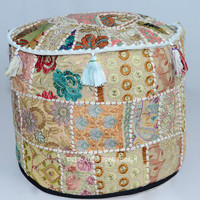 White Multi Patchwork Bohemian Round Indian pouffes Ottoman on RoyalFurnish.com