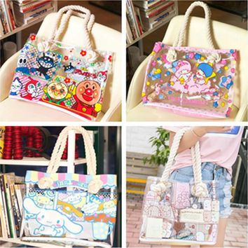Cute Cartoon Hello Kitty My Meloday Little Twin Stars Clear Transparent Shoulder Bag Women Tote Handbag PVC Waterproof Beach Ba