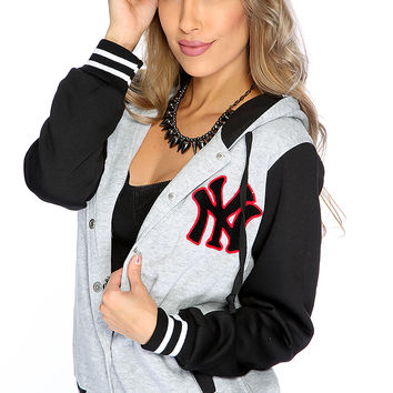 Grey Black Button Up Sport Patch Letterman Jacket