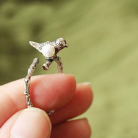 Vintage Silver Bird Animal Wrap Ring
