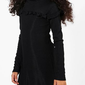 Girls Micro Ruffle Funnel Neck Bodycon Dress | Boohoo
