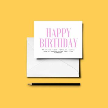 Funny BEST FRIEND Birthday Card - Easy DIY - Just Download & Print