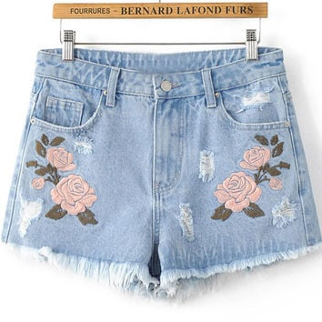 Flower Embroidered Raw Hem Washed Denim Shorts