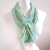 Mint Green Yellow Infinity Scarf Floral Circle Scarf Lemon Zest Grayed Jade Feminine Winter Accessories Upcycled Clothing Neck Warmer