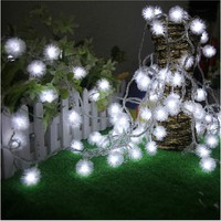 10M 50 LED Furry Ball RGB Edelweiss Snowflake led String Light 220V 110V colorful Christmas outdoor led string light