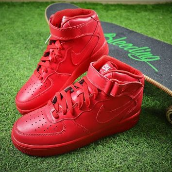 Nike Air Force 1 Mid All Red Mid AF1 Sport Shoes - Best Online Sale