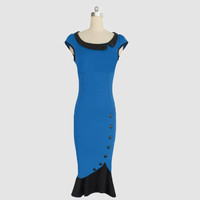 Two Toned Boat Neck Cap Sleeves Button Bodycon Mermaid Dress