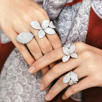 Big Leaf Rings For Women Cz Pave Setting Elegant Unique Design Rose Flower Open Adjustable Finger Jewelry For Party