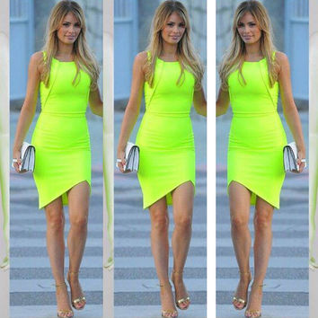 Candy Color Slim Sleeveless O-Neck Asymmetric Hem Tank Dress