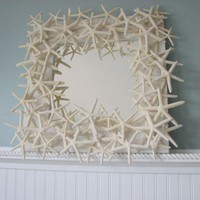 Beach Decor Starfish Mirror Made of Dozens of White Finger Starfish | beachgrasscottage - Furniture on ArtFire