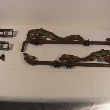 SOLD!  Antique Decorative Cast Iron Curtain Rods #2 SwingOut Adjust, Brackets