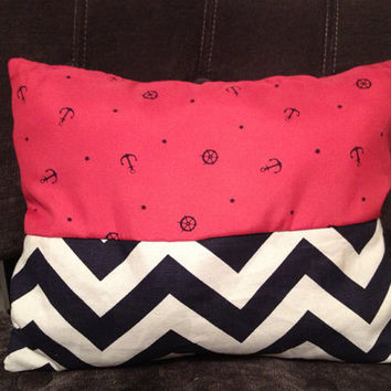 Anchor and Chevron Pillow by MeeAndMyHeart on Etsy