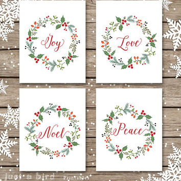 Joy Love Noel Peace, Christmas decor set, holiday PRINTABLE set, joy printable, holiday sign, Christmas decoration,Christmas calligraphy art