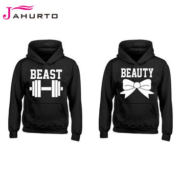 Jahurto Couple Hooded Sweatshirt BOW BEAST BEAUTY Printed Black Harajuku Women Men Hoodies Pullover Hipster Streetwear Tracksuit