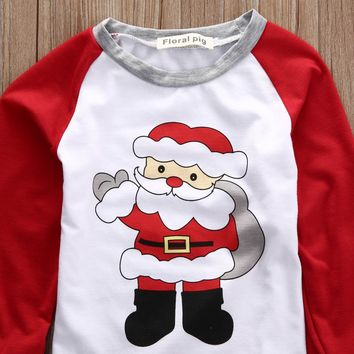 Christmas Kids Toddler Santa Clause Long Sleeve Pajama Set