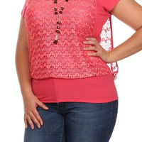 Lace Overlay Top - Coral - Plus Size - 1x - 2x - 3x