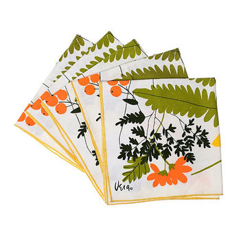 Vintage 70s Vera Neumann Fern and Flowers Napkins 1970's Mod Iconic Spring Floral Linens Hippie Boho Kitsch Home Decor Lot of 5
