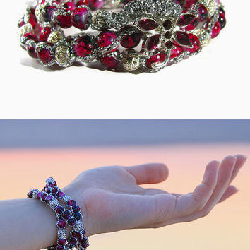 Beaded bracelet Rose Marsala Glass Beads multi 3 triple wrap Friendship Girl Fashion Statement Multi-stand Metal button Dragonfly idea gift