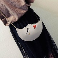 Fahion half moon Bags personality moon messenger bag Bags sliver colour sleeping moon handbags party Day clutches