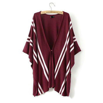 New Fashion Ladies' elegant stripe pattern Knitted cardigan coat stylish casual loose Cloak cape outwear sweater brand top SW666