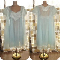 Vintage 50s 60s BLUE Sheer Double Nylon Chiffon Babydoll Peignoir Nightgown & Robe Set Wedding Bridal Negligee Lingerie LARGE 38-40