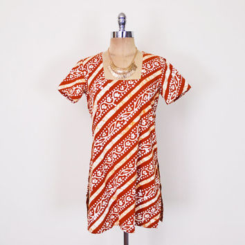 Ethnic India Tunic Mini Dress Top India Top India Blouse India Shirt Rust Red Batik Print 70s Hippie Top Boho Top Festival S Small M Medium