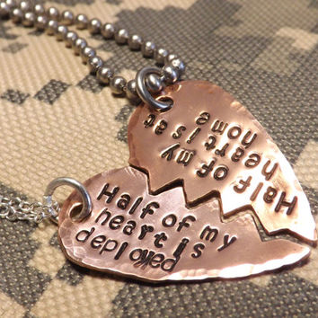 Copper Broken Heart His and Her Necklace Set- Half My Heart is Deployed, Half My Heart is At Home- Deployment Jewelry, Military Couple, Army