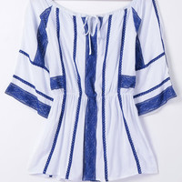 White Striped Tie-Front Blouse